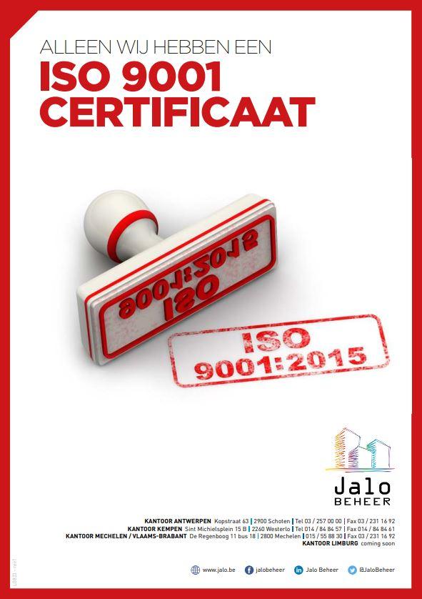 De enige syndicus met ISO-certificaat - Jalo Beheer