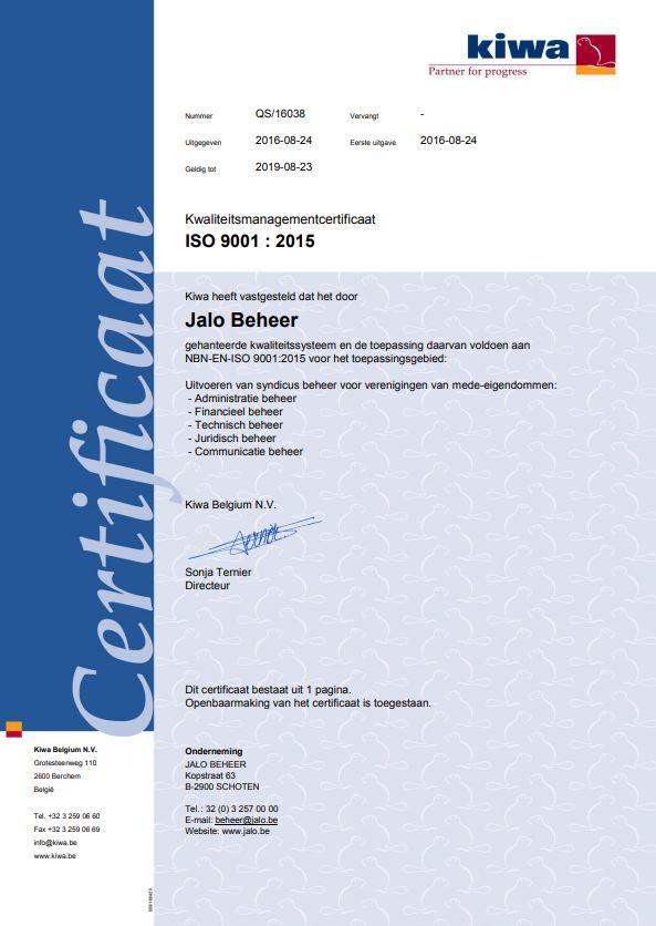 ISO 9001:2015-certificaat van Jalo Beheer