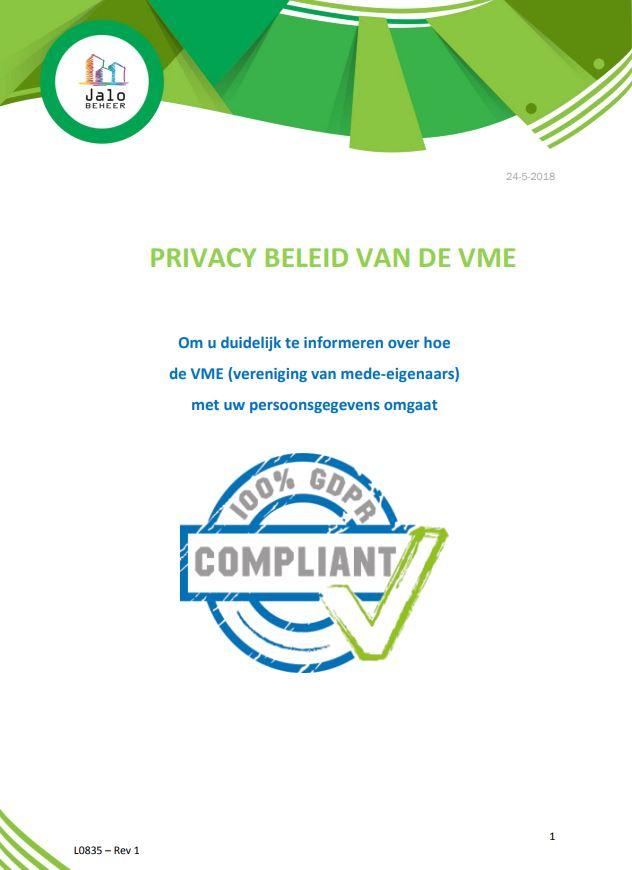 Privacy beleid van de VME - Jalo Beheer