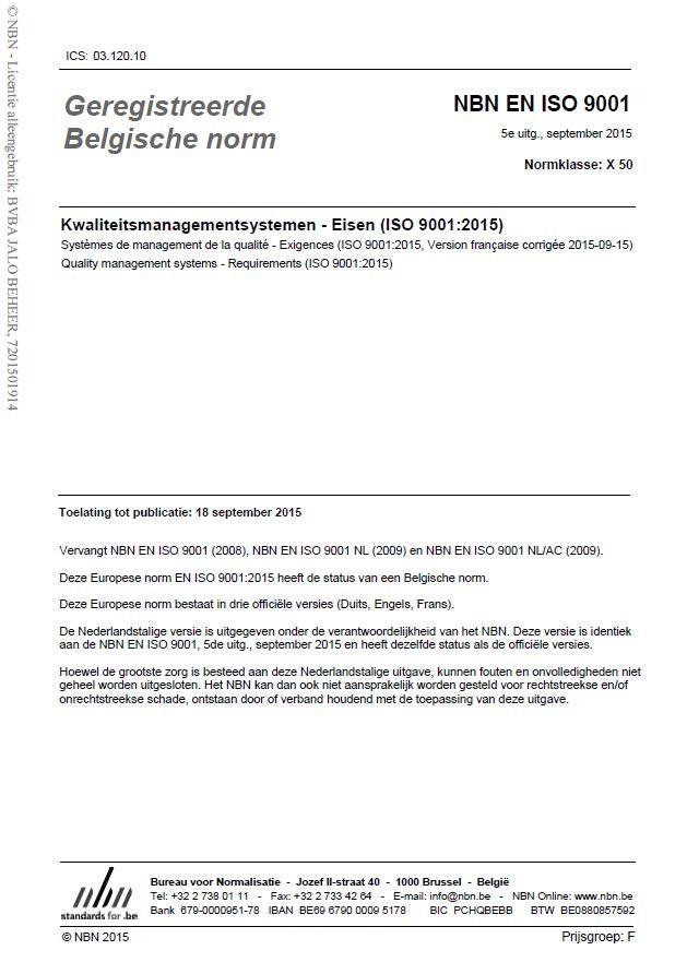 Welke eisen zijn aan ISO 9001:2015 verbonden?